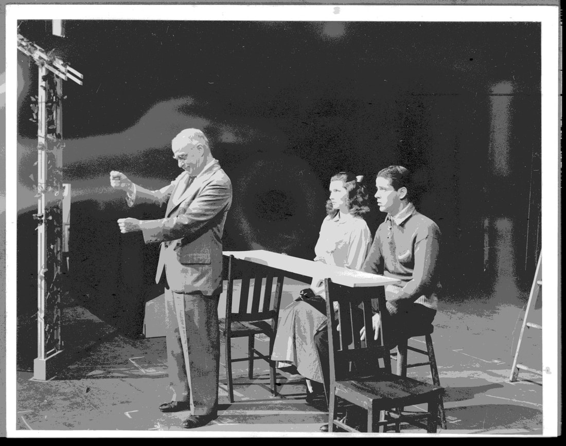 Photo of Thornton Wilder as stage manager in production Our Town From: Thornton Wilder papers at Yale University Library.