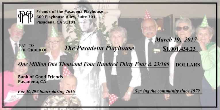 Friends of the Pasadena Playhouse Presentation Check for 2016